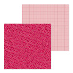 Doodlebug Design - Petite Prints Collection - 12 x 12 Double Sided Paper - Floral and Graph - Ruby