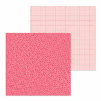 Doodlebug Design - Petite Prints Collection - 12 x 12 Double Sided Paper - Floral and Graph - Cherry