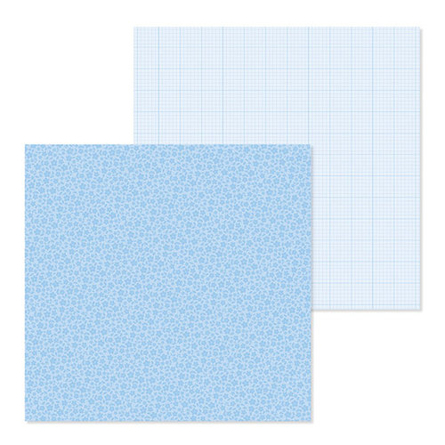 Doodlebug Design - Petite Prints Collection - 12 x 12 Double Sided Paper - Floral and Graph - Bubble Blue