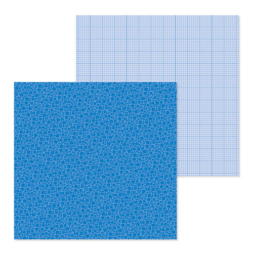 Doodlebug Design - Petite Prints Collection - 12 x 12 Double Sided Paper - Floral and Graph - Blue Jean