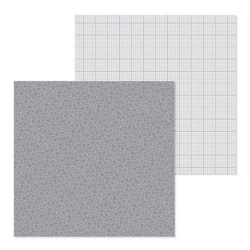 Doodlebug Design - Petite Prints Collection - 12 x 12 Double Sided Paper - Floral and Graph - Stone Gray