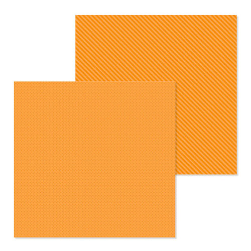 Doodlebug Design - Petite Prints Collection - 12 x 12 Double Sided Paper - Dot and Stripe - Mandarin