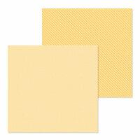 Doodlebug Design - Petite Prints Collection - 12 x 12 Double Sided Paper - Dot and Stripe - Lemon