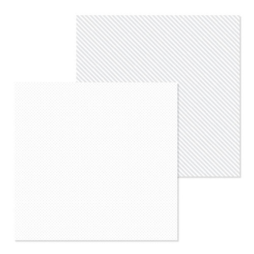 Doodlebug Design - Petite Prints Collection - 12 x 12 Double Sided Paper - Dot and Stripe - Lily White