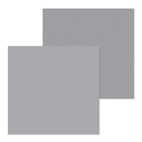 Doodlebug Design - Petite Prints Collection - 12 x 12 Double Sided Paper - Dot and Stripe - Stone Gray