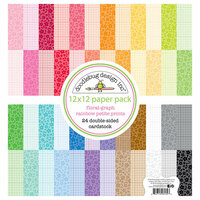 Doodlebug Design - Petite Prints Collection - 12 x 12 Paper Pack - Floral and Graph - Rainbow