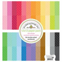 Doodlebug Design - Petite Prints Collection - 12 x 12 Paper Pack - Dot and Stripe - Rainbow