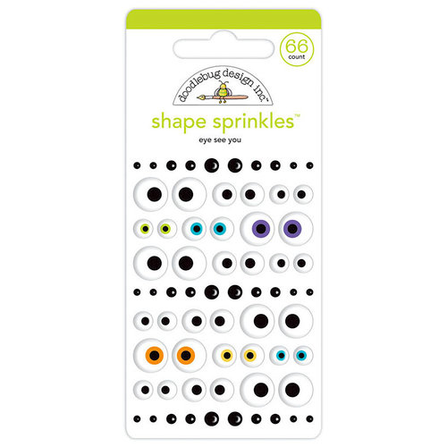 Doodlebug Design - Pumpkin Party Collection - Halloween - Sprinkles - Self Adhesive Enamel Shapes - Eye See You