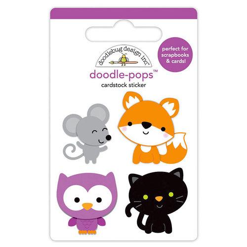Doodlebug Design - Pumpkin Party Collection - Halloween - Doodle-Pops - 3 Dimensional Cardstock Stickers - Forest Friends
