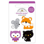 Doodlebug Design - Pumpkin Party Collection - Halloween - Doodle-Pops - 3 Dimensional Cardstock Stickers - Forest Friends