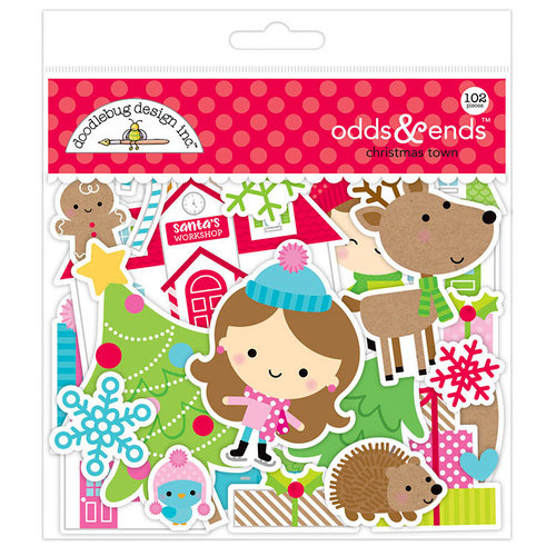 Doodlebug Design - Christmas Town Collection - Odds and Ends - Die Cut Cardstock Pieces