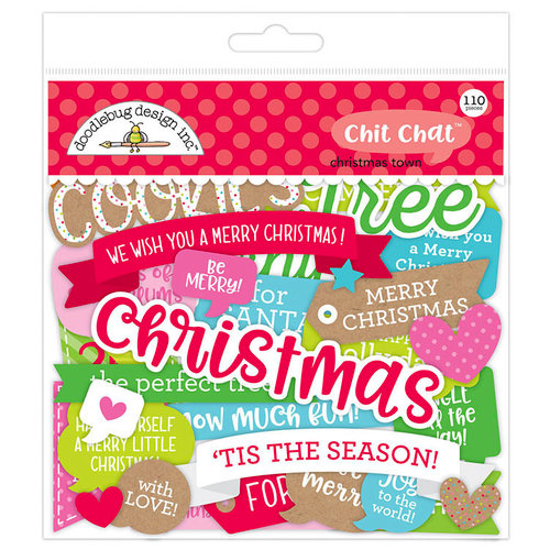 Doodlebug Design - Christmas Town Collection - Chit Chat - Die Cut Cardstock Pieces