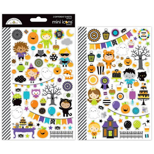Doodlebug Design - Pumpkin Party Collection - Halloween - Cardstock Stickers - Mini Icons