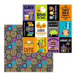 Doodlebug Design - Pumpkin Party Collection - Halloween - 12 x 12 Double Sided Paper - Party Pinwheels