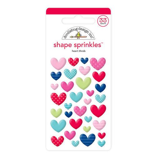 Doodlebug Design - French Kiss Collection - Sprinkles - Self Adhesive Enamel Shapes - Heart Throb