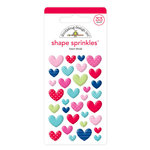Doodlebug Design - French Kiss Collection - Sprinkles - Self Adhesive Enamel Shapes - Heart Throb