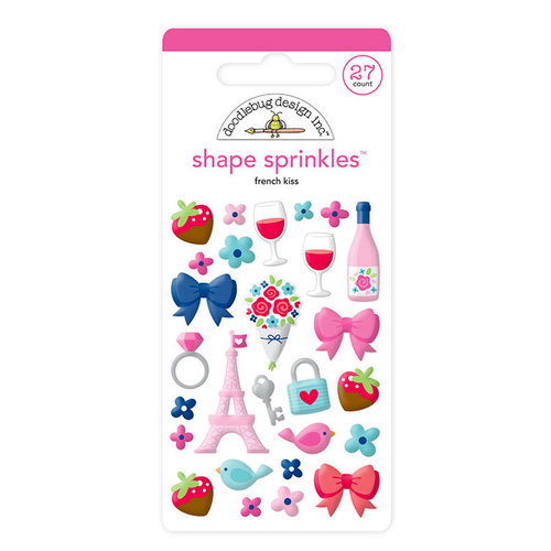 Doodlebug Design - French Kiss Collection - Sprinkles - Self Adhesive Enamel Shapes - French Kiss