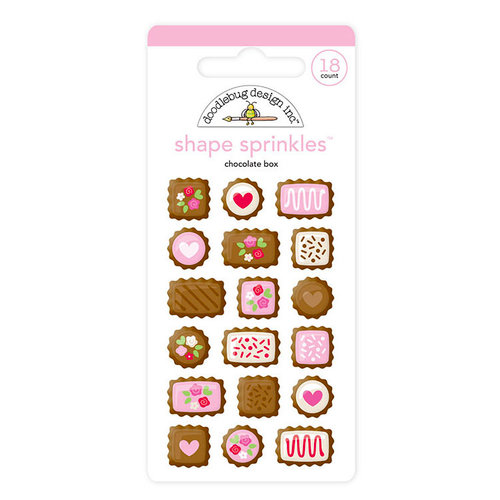 Doodlebug Design - French Kiss Collection - Sprinkles - Self Adhesive Enamel Shapes - Chocolate Box