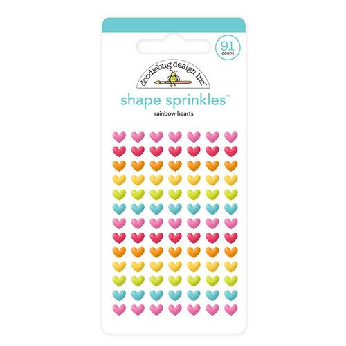 Doodlebug Design - Lots O' Luck Collection - Sprinkles - Self Adhesive Enamel Shapes - Rainbow Hearts
