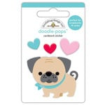 Doodlebug Design - French Kiss Collection - Doodle-Pops - 3 Dimensional Cardstock Stickers - Love Pug