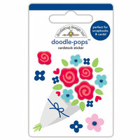 Doodlebug Design - French Kiss Collection - Doodle-Pops - 3 Dimensional Cardstock Stickers - Roses are Red