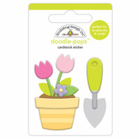 Doodlebug Design - Simply Spring Collection - Doodle-Pops - 3 Dimensional Cardstock Stickers - Green Thumb