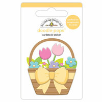 Doodlebug Design - Hoppy Easter Collection - Doodle-Pops - 3 Dimensional Cardstock Stickers - Flower Basket