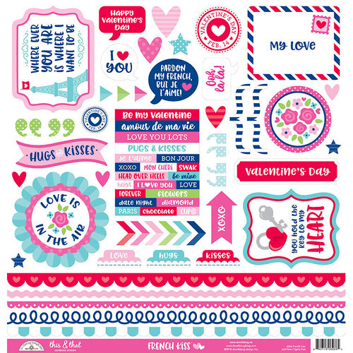 Doodlebug Design - French Kiss Collection - 12 x 12 Cardstock Stickers - This and That