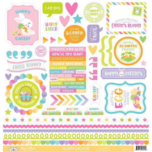 Doodlebug Design - Hoppy Easter Collection - 12 x 12 Cardstock Stickers - This and That