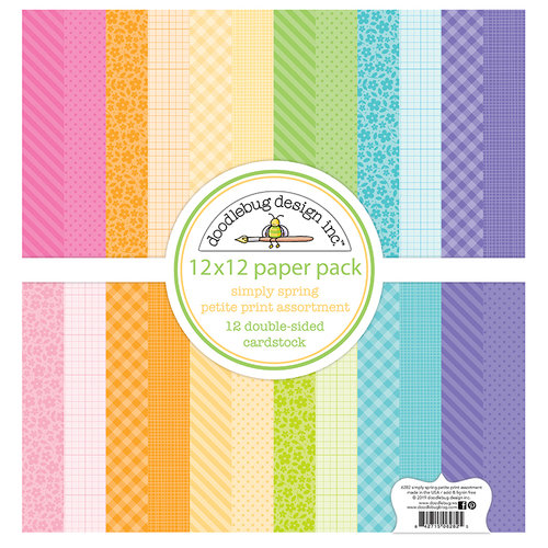Doodlebug Design - Simply Spring Collection - 12 x 12 Paper Pack - Petite Print Assortment