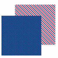 Doodlebug Design - French Kiss Collection - 12 x 12 Double Sided Paper - Navy Dot