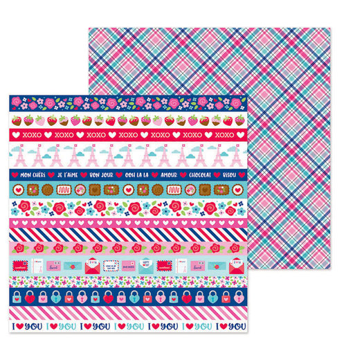 Doodlebug Design - French Kiss Collection - 12 x 12 Double Sided Paper - Passion for Plaid