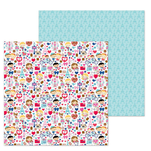 Doodlebug Design - French Kiss Collection - 12 x 12 Double Sided Paper - French Kiss