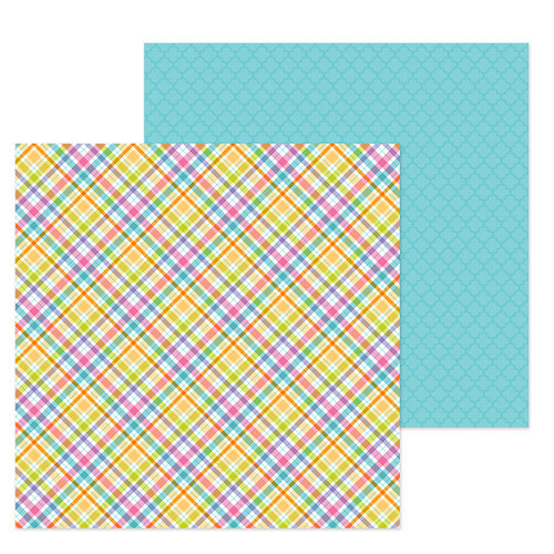 Doodlebug Design - Hoppy Easter Collection - 12 x 12 Double Sided Paper - Jellybean Plaid