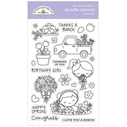 Doodlebug Design - Simply Spring Collection - Clear Photopolymer Stamps - Flower Girl