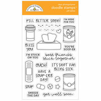 Doodlebug Design - So Much Pun Collection - Clear Photopolymer Stamps - Pill Better