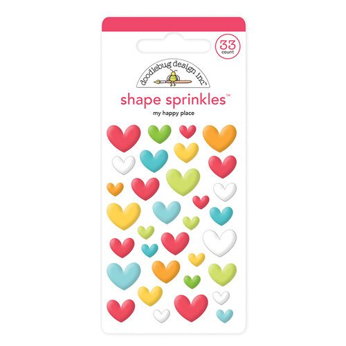 Doodlebug Design - I Heart Travel - Sprinkles - Self Adhesive Enamel Shapes - My Happy Place