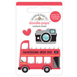 Doodlebug Design - I Heart Travel - Doodle-Pops - 3 Dimensional Cardstock Stickers - Double Decker