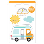 Doodlebug Design - I Heart Travel - Doodle-Pops - 3 Dimensional Cardstock Stickers - Road Trip