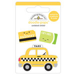 Doodlebug Design - I Heart Travel - Doodle-Pops - 3 Dimensional Cardstock Stickers - Taxi!