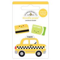 Doodlebug Design - I Heart Travel - Doodle-Pops - 3 Dimensional Cardstock Stickers - Taxi!