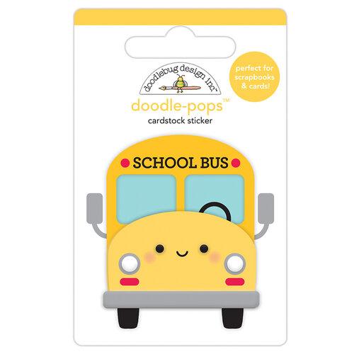 Doodlebug Design - School Days - Doodle-Pops - 3 Dimensional Cardstock Stickers - School Bus