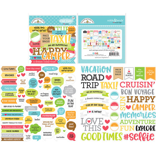 Doodlebug Design - I Heart Travel - Chit Chat - Die Cut Cardstock Pieces