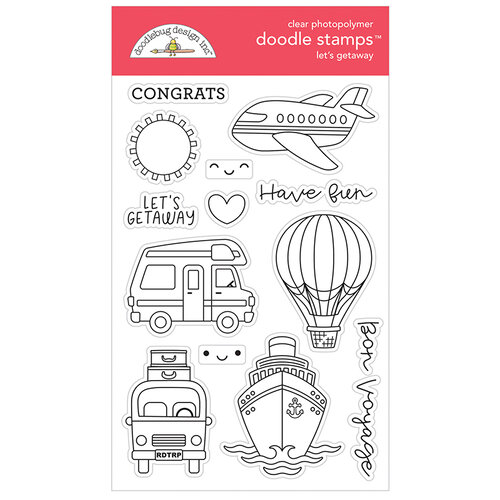 Doodlebug Design - I Heart Travel - Clear Photopolymer Stamps - Let