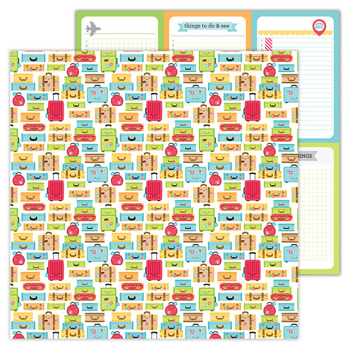 Doodlebug Design - I Heart Travel - 12 x 12 Double Sided Paper - Vacation Time