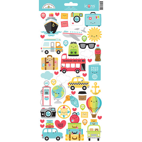 Doodlebug Design - I Heart Travel - Cardstock Stickers - Icons