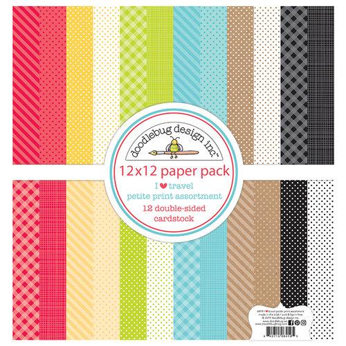 Doodlebug Design - I Heart Travel - 12 x 12 Petite Print Assortment Paper Pack