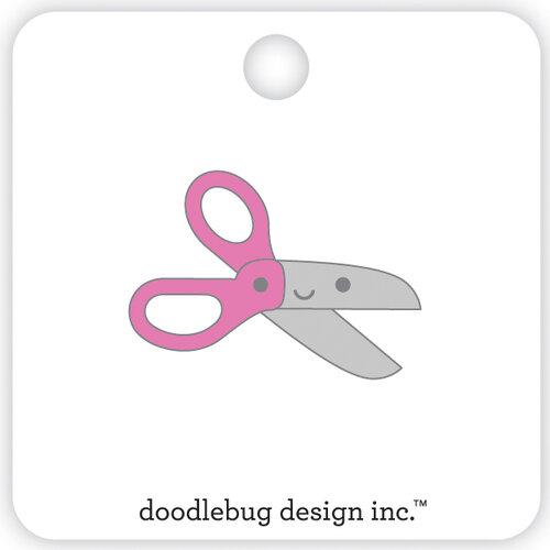 Doodlebug Design - School Days - Collectible Pins - Pink Scissors