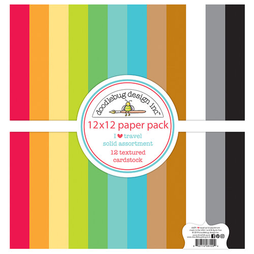 Doodlebug Design - I Heart Travel - 12 x 12 Textured Cardstock Assortment Paper Pack
