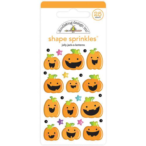 Doodlebug Design - Halloween - Candy Carnival Collection - Sprinkles - Self Adhesive Enamel Shapes - Jolly Jack-O-Lanterns